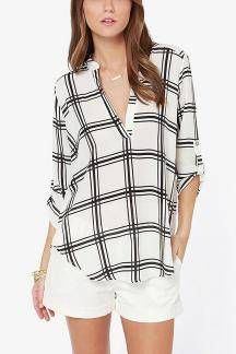 V-cuello de la gasa de la blusa In Check Pattern
