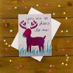 This magical woodland animal symbolizes grace and sweetness. Can you think of a more enDEERing card? This is a perfect gift for someone who is a big FAWN of cute animals and silly puns. - by Drawing Joy