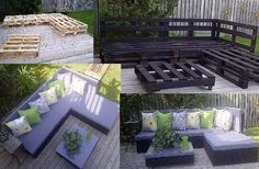 I just love the re-use of pallets for the outdoor furniture!! You can't beat the price!! They look great and are functional and comfy too  Oh this seems like it would be pretty easy!! Just need to find 4-5 decent pallets and recruit mom.  hmmm