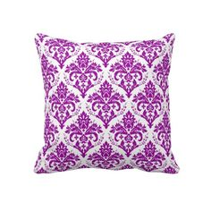 Elegant Purple Damask on White Throw Pillows