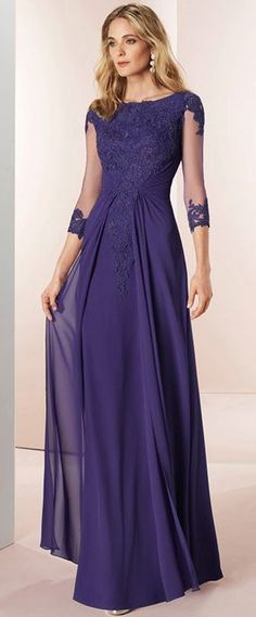 Stunning Tulle & Chiffon Bateau Neckline 3/4 Length Sleeves A-line Mother Of The Bride Dresses With Beaded Lace Appliques