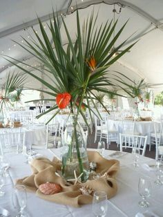 Tropical Centerpiece Of Palms, Birds Of Paradise, And Anthurium Part 26