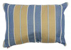 At Home with Marieke Kussen hoes 50x70cm, blauwe khaki streep
