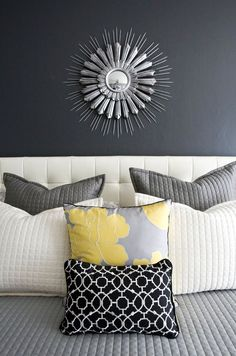 Gray and yellow bedroom color combination.