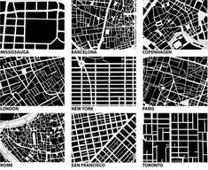 Urban form/fabric drawings of 9 cities (one hopes at the same scales) in order to compare the scales of the fabric of the street network.