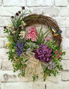 Floral Spring Wreath, Summer Wreath for Door, Silk Floral Wreath, Grapevine Wreath, Front Door… Fake Flowers, Diy Flowers, Flower Diy, Flower Ideas, Diy Wreath, Grapevine Wreath, Wreath Ideas, Tulle Wreath, Moss Wreath