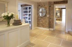 Large, tumbled limestone floor tiles, leading on to wide plank floor Gallery Luxury small hotel by the sea in St Ives, Cornwall Kitchen Living, Kitchen Flooring, Country Kitchen, Interior Inspiration, Design Inspiration, Home Kitchens, Ideal Home, Kitchen Design, Sweet Home
