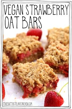 Vegan Strawberry Oat Bars! Sweet gooey strawberry filling surrounded by crumbly oatmeal cookie pastry, these old fashioned bars are summer dessert perfection! #itdoesnttastelikechicken #veganrecipe #vegandessert