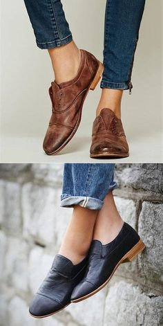 Plus Size Slip On Oxford Shoes Casual Faux Leather Loafers Look Fashion, Fashion Shoes, Autumn Fashion, Fashion Outfits, Womens Fashion, Oxford Shoes Outfit, Dress Shoes, Mode Shoes, Oxfords