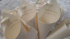 30  light Ivory shimmer wedding Petal Cones by AllInTheDetailsByAR