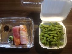 Day 4. Erin told me wasabe doesn't count so I had to include edamame with lunch order.