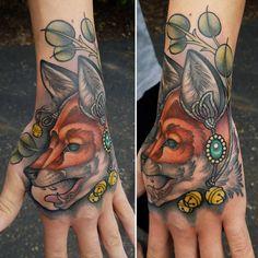 Neo traditional ornamental fox by me, Logan Bramlett Wanderlust Tattoo Society Akron Ohio Hand Tattoos, Cool Tattoos, Neo Traditional, Tattoos Gallery, Logan, Piercings, Wanderlust, Fox, Akron Ohio