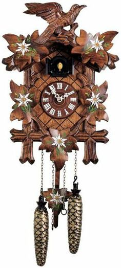 353 Q Grandfather Clocks Painted Leaves Hand Traditional Cuckoo Black