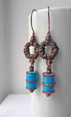 23 June - Claire Lockwood, something to do with your hands.  Lampwork oil drums - Helen Chalmers; Patina Hoops - Something to do Beads
