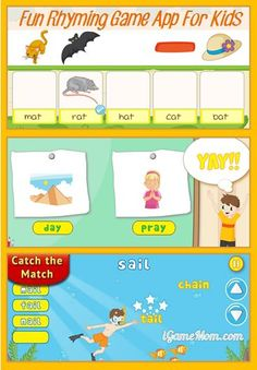 Rhyming games app for kids with fun rhyming activities for preschool to kindergarten to early elementary kids