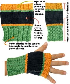 mitones tejiendoperu.com Fingerless Gloves Crochet Pattern, Knit Mittens, Crochet Poncho, Knitted Gloves, Knitting Socks, Crochet Stitches, Crochet Hooks, Crochet Patterns, Wrist Warmers