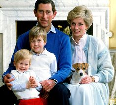 Charles, Diana, their sons and their puppy