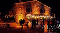 ALMA PROJECT - Borgo Stomennano -  bulbs lighting - gazebo - led uplights - warm amber