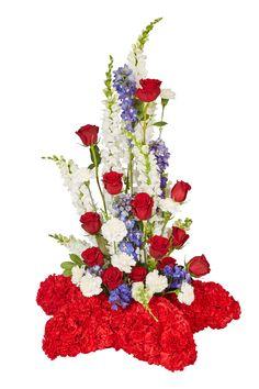 Customized patriotic sympathy floral arrangements. Sympathy Flowers, Flowers Nature, Floral Arrangements, Craft Supplies, Floral Wreath, Wreaths, Crafts, Design, Ideas