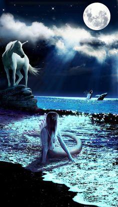 Enchanted Evening by DragonDew on DeviantArt Magical Creatures, Fantasy Creatures, Sea Creatures, Unicorn Fantasy, Unicorn Art, Unicorns And Mermaids, Mermaids And Mermen, Pics Of Mermaids, Fantasy World