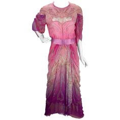 1970s Zandra Rhodes Hand Painted Silk Evening Gown    From a collection of rare vintage evening dresses and gowns at https://www.1stdibs.com/fashion/clothing/evening-dresses/