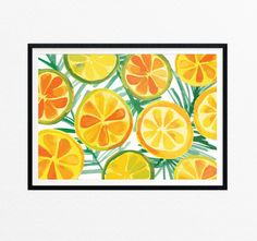 Fruit Art Print/Summer Wall Art/Orange by EasternCloudStudio