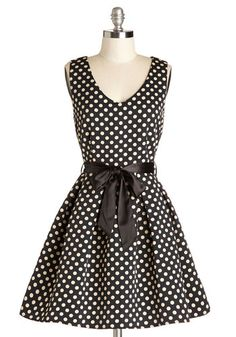 Take in a Matinee Dress - Black, Polka Dots, Belted, Party, Sleeveless, Better, V Neck, Woven, Fit & Flare, White, Gifts Sale, Short