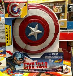 Kids can imagine what it's like to battle like Captain America with this Blaster Reveal Shield, which includes 2 launching projectiles! Just push down the star button to watch the shield open, revealing a hidden blaster designed to take enemies down!   eBay!