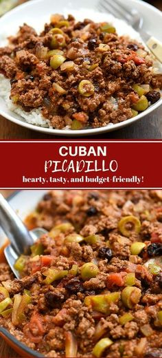Cuban Picadillo with ground beef olives and raisins cooked in a rich tomato sauce. It's hearty tasty budget-friendly and the ultimate comfort food. Serve with rice for a quick and easy weeknight dinner. - May 05 2019 at Beef Recipes For Dinner, Cuban Recipes, Ground Beef Recipes, Cooking Recipes, Healthy Recipes, Chicken Recipes, Free Recipes, Easy Recipes, Sauce Recipes