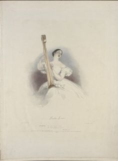 """Lithograph (1836), drawn by Alfred Edward Chalon (1780-1860), lithographed by Richard Lane (1800-1872), of Giulia Grisi (1811-1869), as Desdemona, in Act 3, Scene 1, of """"Otello"""" (1816), by Gioacchino Rossini (1792-1868). Published in """"Recollections of the Italian Opera in 1835""""."""