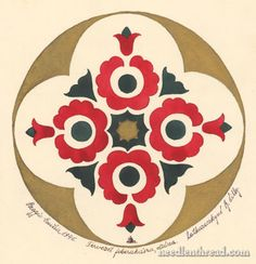 Hungarian Embroidery Design: Free Pattern for Hand Embroidery    ...Great story!! Applique??