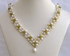 Pearl and crystal necklace Princess, olive N1381 by Fleur-de-Irk