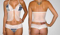 7a9544b8c85 Dallas Cowboys white scallop lace camisole lingerie top - matching scallop  lace G string set