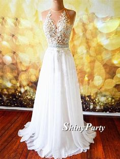 A Line Open Back Long Prom Dresses with Lace Appliques, Open Back Formal Dresses