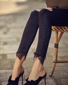 Mother denim ankle fray jeans and heels