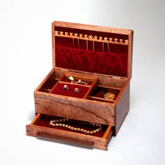 Wood Jewelry Box, Ladies Jewelry box with Divider and Sliding Box. African Mahgony Body with Pomelle Makore Lid. 0316-015-004 by MountainViewWood on Etsy