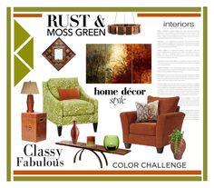 """""""Color Challenge:Moss Green & Rust!!"""" by cldesign ❤ liked on Polyvore featuring interior, interiors, interior design, home, home decor, interior decorating, Corson, Arteriors, Barclay Butera and LSA International"""