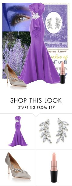 """""""Untitled #4436"""" by empathetic ❤ liked on Polyvore featuring Carolee, Manolo Blahnik and MAC Cosmetics"""