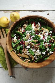 Spinach, Pear, and Feta Salad with Walnuts and Pomegranate via @theforkedspoon