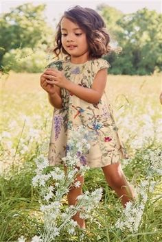 Floral Print Smocked Dress with Birds