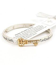 Goldtone Crystal Key Engraved Prayer of St.Francis Silvertone Stretch Bracelet