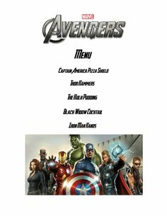 Reel Fancy Dinners: The Avengers Dinner Movie Night For Kids, Dinner And A Movie, Family Movie Night, Family Movies, Movie Themes, Movie Ideas, Party Themes, Party Ideas, Dinner Themes