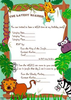 Free jungle theme party printables p a r t why pinterest birthday party invitations free for kids stopboris Choice Image