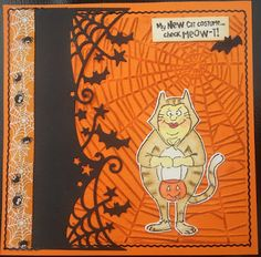 Art Impressions Rubber Stamps: Ai Halloween: Check Meow-T! (sku #4522)... handmade card. costume, spider webs, trick-or-treat.