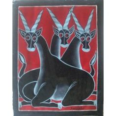 Tingatinga Art Three Antelope Artist Mt Swalehe Hand painted in Dar es Salaam, East Africa. Folk Art, Oil On Canvas, Canvas, Moose Art, African Wall Art, Visual Art, Art, Bicycle Painting, Africa Art