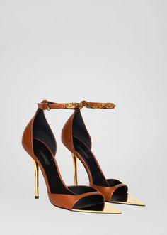 Safety Pin Pumps from Versace Women's Collection. Crafted from the softest nappa leather, these pointed toe, high heel pumps feature an ankle belt enriched with heritage Safety Pin hardware pendants. Pumps, Stilettos, Stiletto Heels, High Heels, Cute Womens Shoes, Womens Shoes Wedges, Brown Sandals, Leather Sandals, Patent Leather