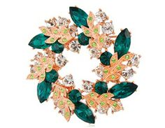Rigant 18K RGP Alloy Crystal Wreath Brooch Pin with Clasp (Green)