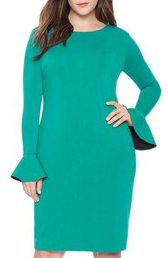 ELOQUII Lace Inset Flounce Cuff Body-Con Dress (Plus Size)