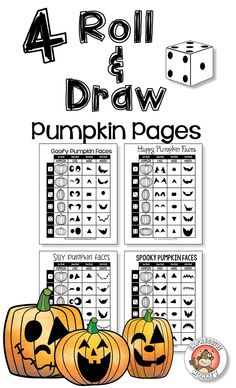 fall activities pumpkin face roll draw jack o lanterns - How To Draw Halloween Decorations