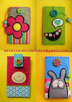 Cover colorati very cool Felt Crafts Diy, Crafts To Make, Sewing Crafts, Sewing Projects, Crafts For Kids, Arts And Crafts, Felt Phone Cases, Felt Case, Paper Flowers Diy